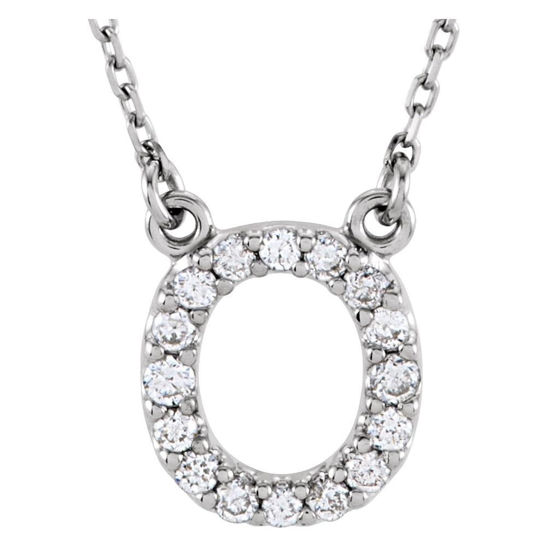 """STU001- 14K White LetterO 1/6 CTW Diamond 16"""" Necklace"""