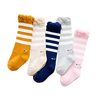 2b1ab2745 SEADEAR 5 pairs Cute Soft Cotton Eye pattern Baby Knee High Socks Toddler  Socks Newborn Stockings