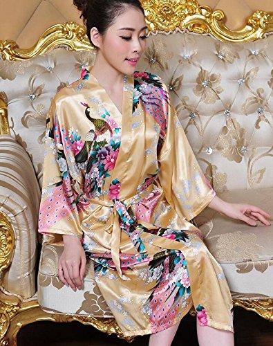 LJ&L Las señoras verano párrafo largo pantalones transpirables sección delgada de simulación de confort de seda trajes de alta calidad de moda pijamas de ropa interior de seda,Rose red,M Yellow