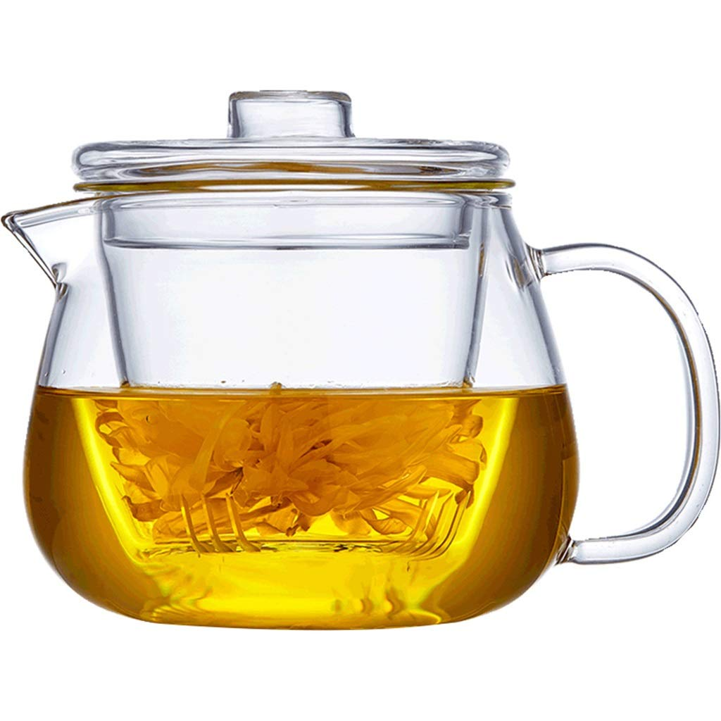 Glass teapot single pot thick heat resistant high temperature filter small flower teapot home CHAJU (Size : 600ml) by CHAJU