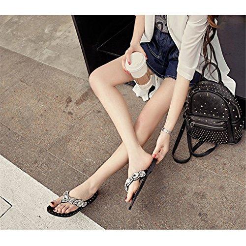 LIXIONG Portátil Zapatillas planas Moda diamante clip dedo del pie fricción Cómodo y dulce flip flops Exterior desgaste fina sandalias femeninas -Zapatos de moda ( Tamaño : EU39/UK6/CN39 )