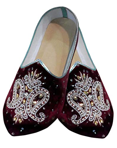 Mens Maroon Velvet Embroidered Hand Work Shoes MJ0730