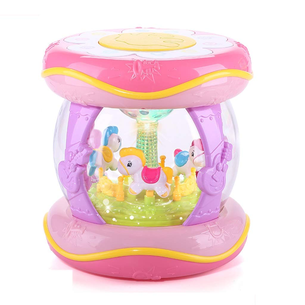 LIPENG-TOY Baby Musik Handtrommeln Kinder Pat Drums Wiederaufladbare Früherziehung Puzzle 1 Jahr 0-6-12 Monate Baby-Spielzeug (Farbe   Grün) Rosa