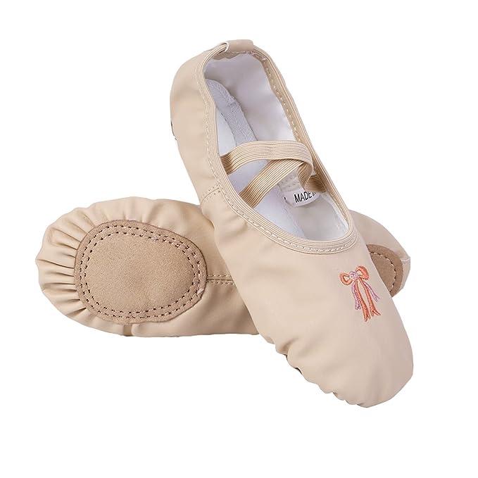 466954c13 iiniim Zapatillas Ballet Clásico Cuero Bailarinas Niña Zapatos de Danza Baile  Rosa Albaricoque Talla 26-34 para Niñas Chicas  Amazon.es  Ropa y accesorios
