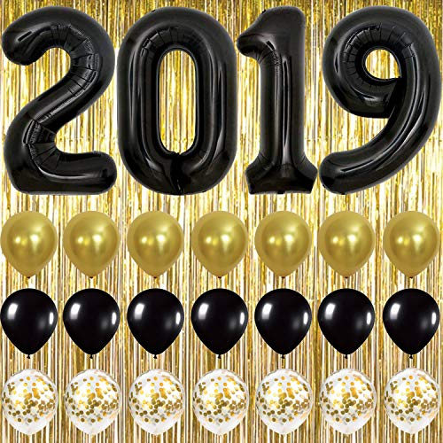 Black and Gold Graduation Party Supplies 2019 - Gold Foil Fringe Curtain Backdrop | Large Black 2019 Balloons | 7 Gold Confetti Balloons | 7 Black and Gold Latex Balloons | Graduation Decorations