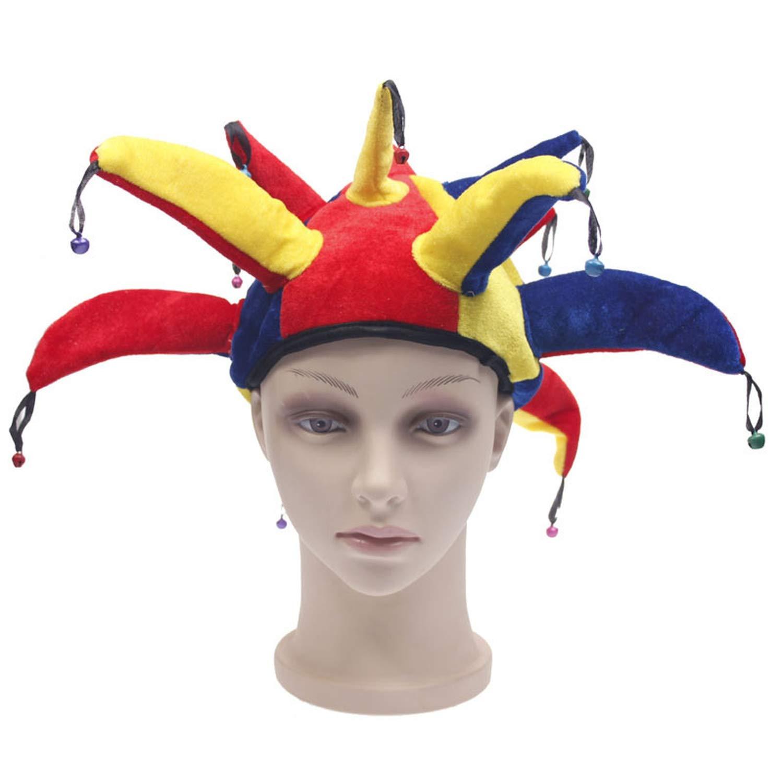 MEIZOKEN Funny Multicolor Halloween Jester Clown Mardi Gras Party Costume Hat
