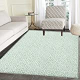 Luau Rug Kid Carpet Flourish Pattern with Blossoming Hibiscus Flowers Springtime in Hawaii Theme Home Decor Foor Carpe 4'x6' Mint Green White