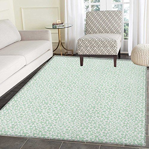 Luau Rug Kid Carpet Flourish Pattern with Blossoming Hibiscus Flowers Springtime in Hawaii Theme Home Decor Foor Carpe 4'x6' Mint Green White by smallbeefly