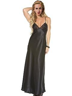 ad28de08fe Women s Long Nightdress Full Length Nightwear Lace Trimmed Sleepwear Ladies  Nightie Chemise Negligee
