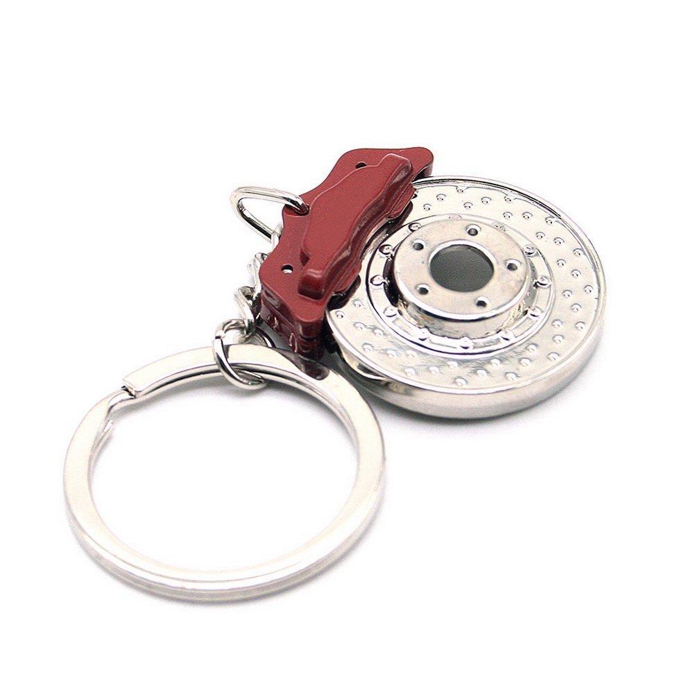 Waterwood - Originale Portachiavi modello freno a disco - Colore roso e argento, con panno per la pulizia FEMSALBJBJ305