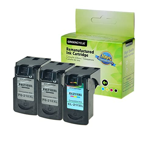 GREENCYCLE High Yield PG 210 CL 211 Remanufactured Ink Cartridge 210XL