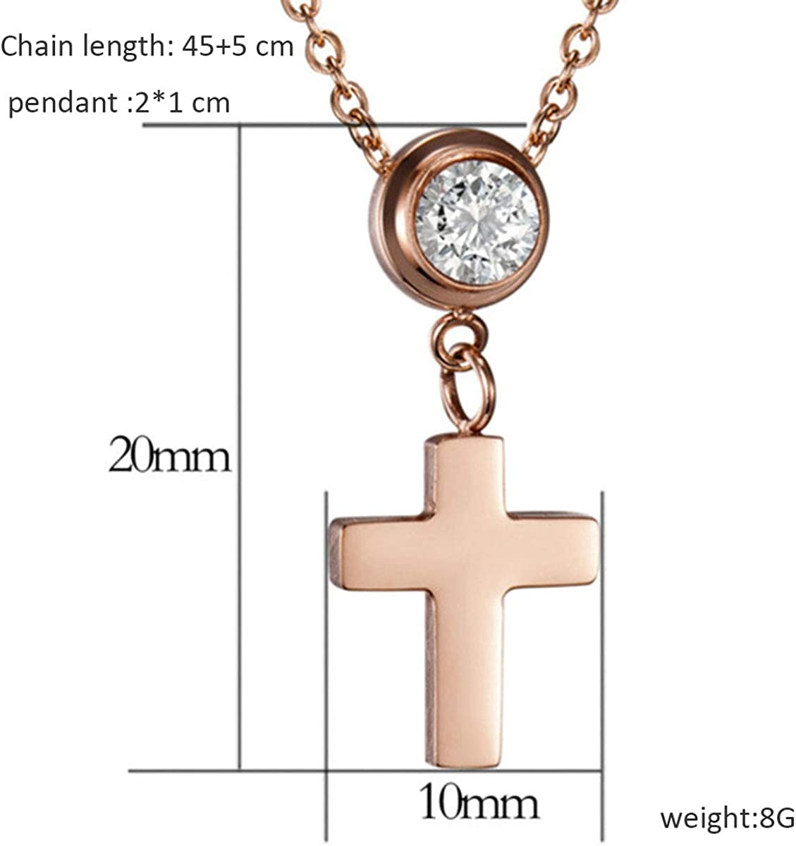 Xiausyang 18-Karat Rose Gold Plated Cross for Lovers Titanium Steel Collarbone Zircon Necklace for Lovers Necklace y798