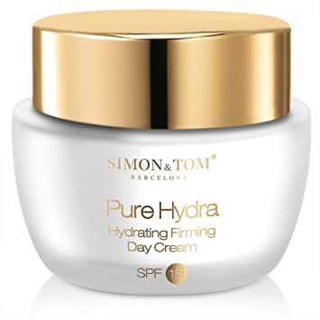 Simon & Tom Pure Hydra Day Cream with SPF 15 - Anti Aging Hydrating Hyaluronic Acid Face Cream with Antioxidant Vitamin C & Skin Renewing Argan Stem Cells. 50 ml