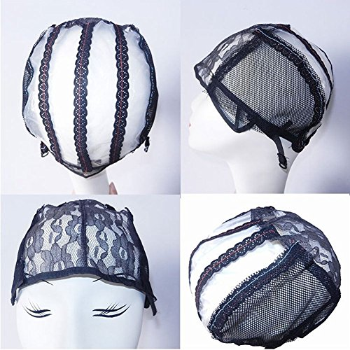 Fashion Lady Black Adjustable Straps DIY Wig Weaving Cap Signature Lines Positioned at the back (3pcs/package) by Fashion Lady Hair