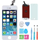 HXSZ LCD Touch Screen Digitizer Frame Assembly Full Set LCD Touch Screen Replacement +tools and Professional Glass Screen Protector for iPhone 5s/4.0 inches(White)Not for iphone 5
