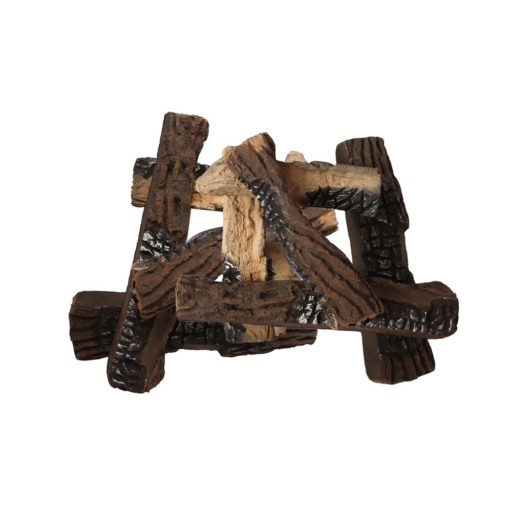 Moda Flame 10 Piece Ceramic Fireplace Wood Log Set 1041-GBA2010