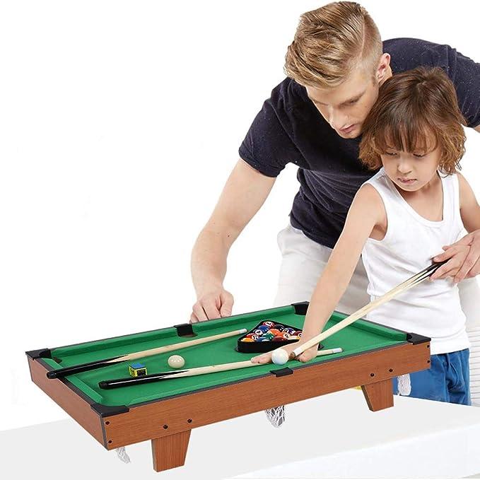 lahomie Mini Mesa de Billar para Niños, Billiards Table Set Incluye Bolas de Juego Conjunto con 4 Patas Material de Fibra de Madera No Tóxico Textura Imitación Ideal para Jugar con Amigos: