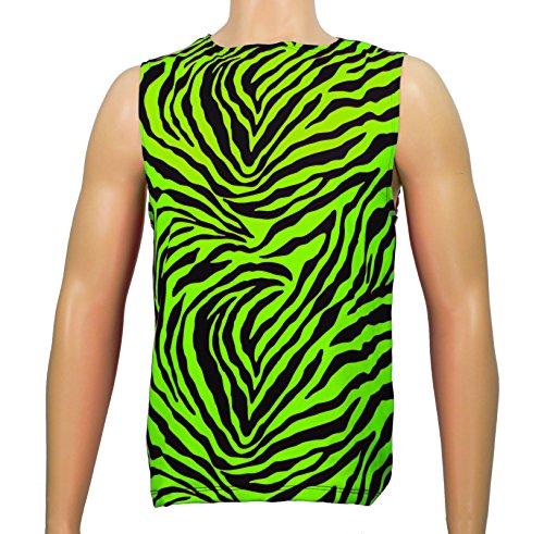 Men's Neon Zebra Heavy Metal Tank Top Shirt (Medium, Green)