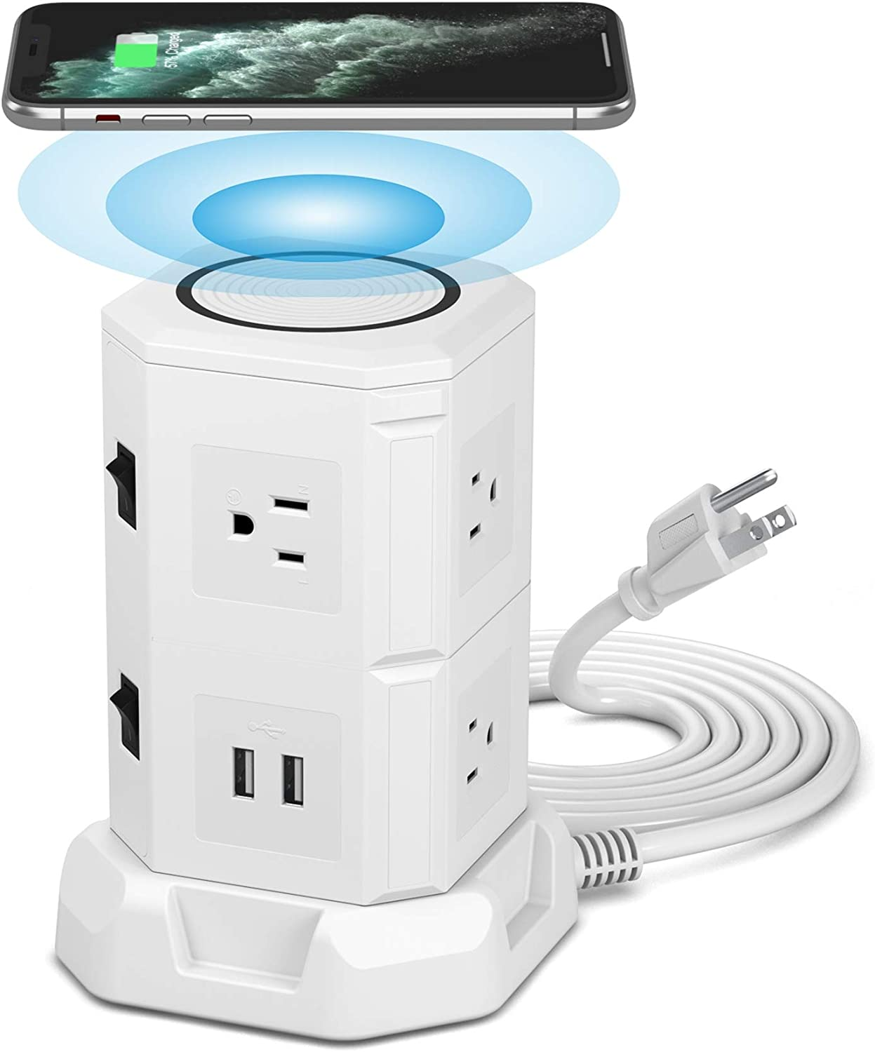 BTU Surge Protector Electric Charging Station, Power Strip Tower Wireless Charger + 7 Outlet Plugs + 2 USB Ports + 6.5ft Extension Cord Universal Socket PC Laptops Phone (White)