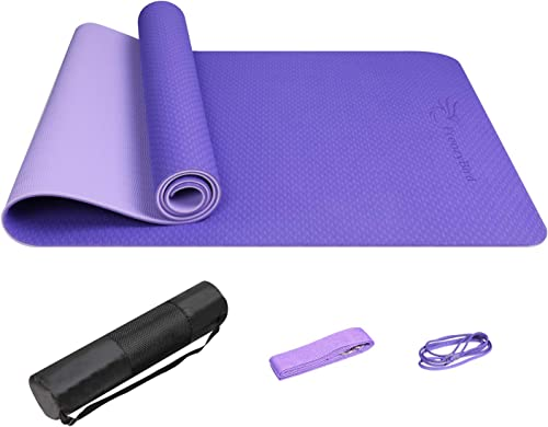 FrenzyBird Eco-Friendly,Reversible,Double-Sided TPE Yoga Mat with Stretch Strap,Carry Strap and Mat Bag, Free of PVC, Extra-Thick,Ideal for Yogis
