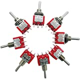 mxuteuk 8pcs MTS-203 6 Terminal 3 Position DPDT Mini Miniature Toggle Switch Car Dash Dashboard ON/Off/ON 5A 125V 2A 250V