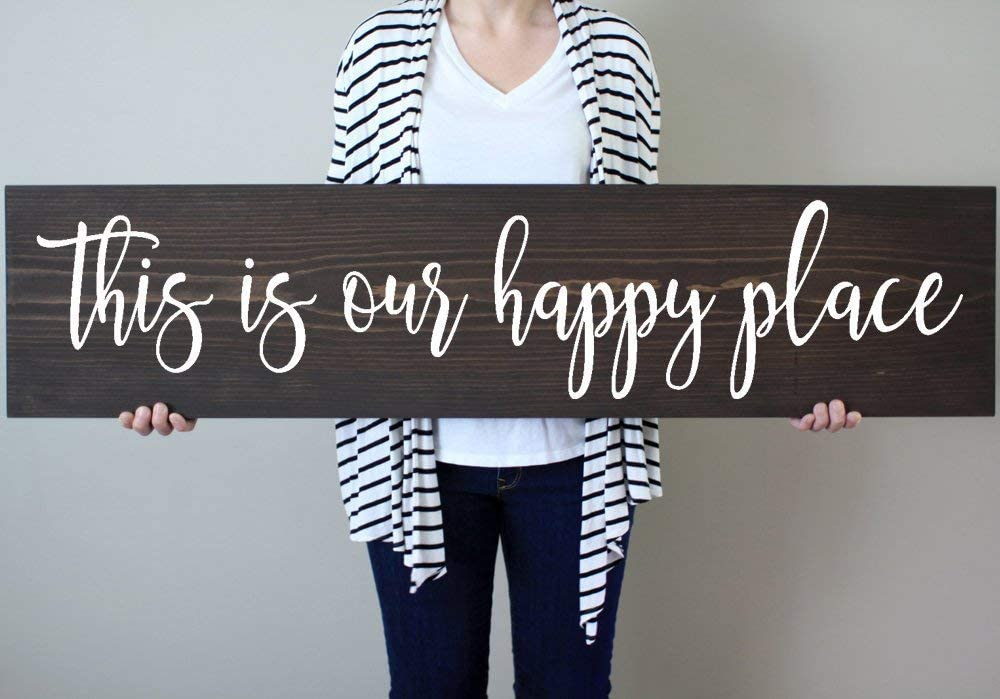 NOT BRANDED This is Our Happy Place Sign Rustic Wood Sign Stained Wood Sign Living Room Sign Wood Sign Sayings Fixer Upper Sign for Above Bed