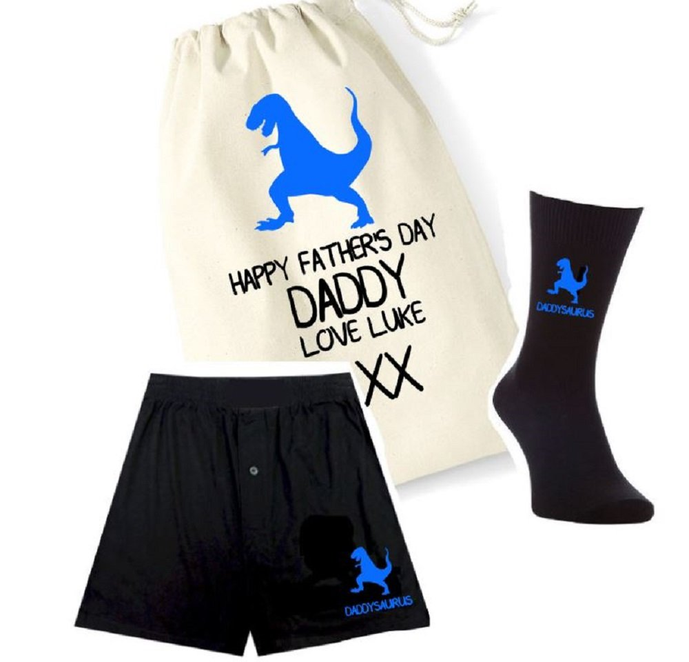 pretty little customs Printed Mens Boxers, Socks and Bag Set - Daddysaurus Dino Dinosaur - Father's Day Personalised Bag Great Gift