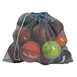 """football ball bag - Mesh Equipment Bag, Grey - 32"""" x 36"""" - Adjustable, sliding drawstring cord closure. Perfect mesh bag for parent or coach, making it easy to transport and keeping your sporting gear organized."""