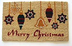 Geo Crafts G609 PVC Backed Coco Doormat, Merry Christmas Ornaments