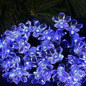 LED Solar cuerda luces Peach Blossom Decoración Exterior Luz Cadena lámpara solar Waterproof cuerda luces Decoración Para Terraza, Jardín, bodas, fiestas, Dormitorio Hely, azul