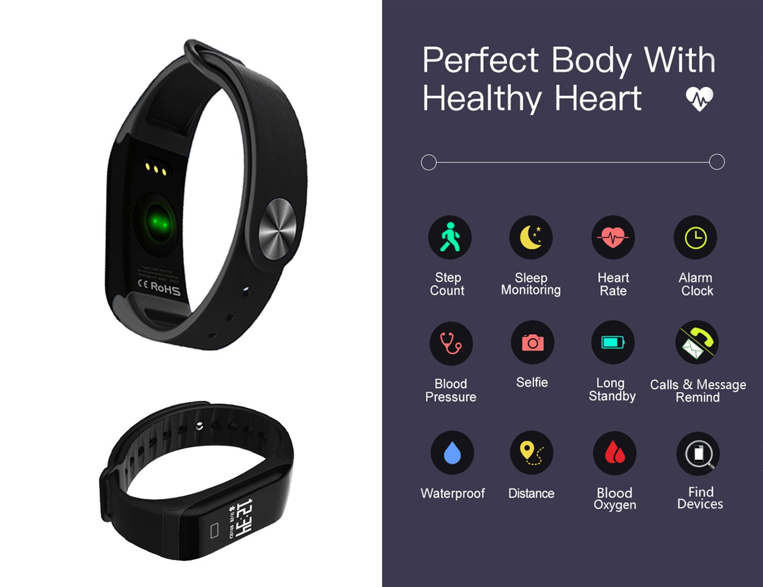Smart Band, Waterproof Smart Watch Fitness Tracker Activity Wristband Heart Rate Monitor Pedometer Sleep Monitor Smart Bracelet Calories Track Step ...