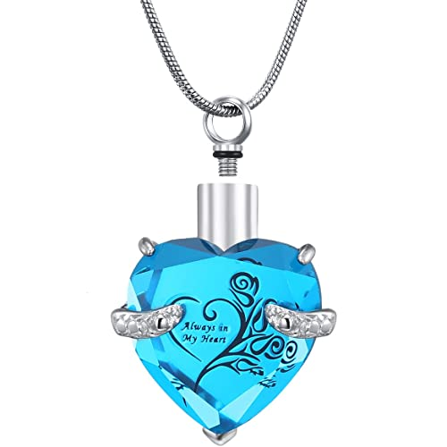 f116cafea0fc1 Meetlove Glass Heart Cremation Urn NecklaceMemorial Jewelry for Ashes Urn  Locket Pendant - Always in My Heart