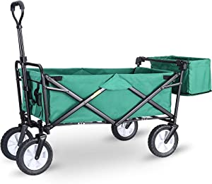 "WHITSUNDAY Collapsible Folding Garden Outdoor Park Utility Wagon Picnic Camping Cart 8"" Wheels with Rear Storage (Standard Size with Rear Storage, Green)"