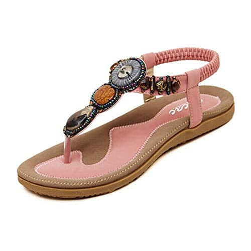 b9e5b740501 Zicac Women s Bohemian Thong Sandal Elastic Back Strap Clip Toe Flats  Sandals (4