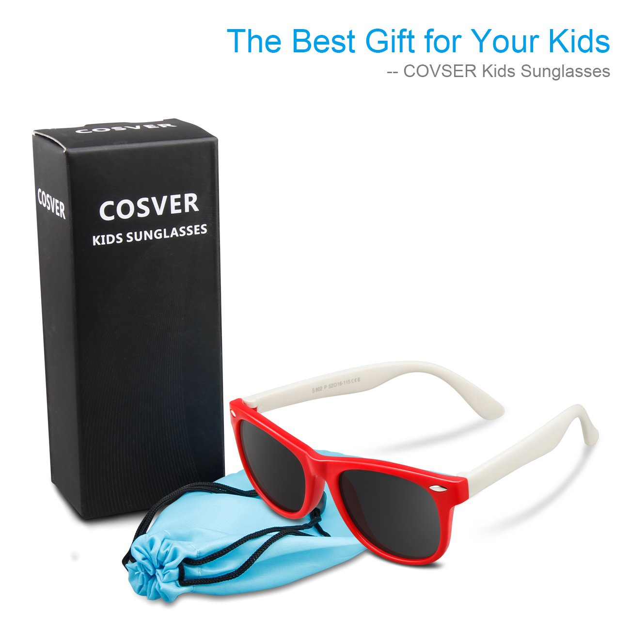 COSVER 082 Rubber Kids Polarized Sunglasses Shade for Baby and Children Age 3-10