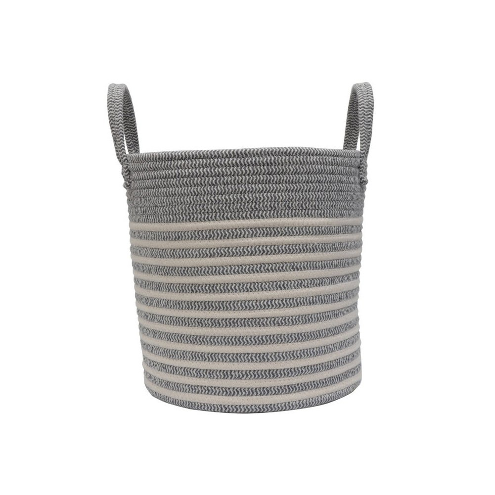 Cotton Rope Woven Basket Dirty Clothes Storage Baskets Bins with Handle Soft Durable Laundry Baskets Nursery Hamper Organizer for Kids' Toys Towels Home Decor Blanket Basket (L, Grey&White)