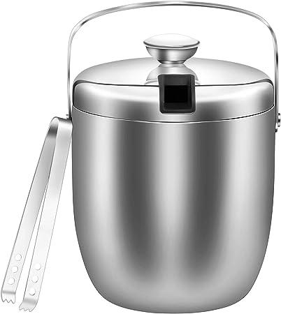 1,3 litri argento secchiello per ghiaccio a parete doppia in acciaio inox Secchiello per il ghiaccio con coperchio e pinze