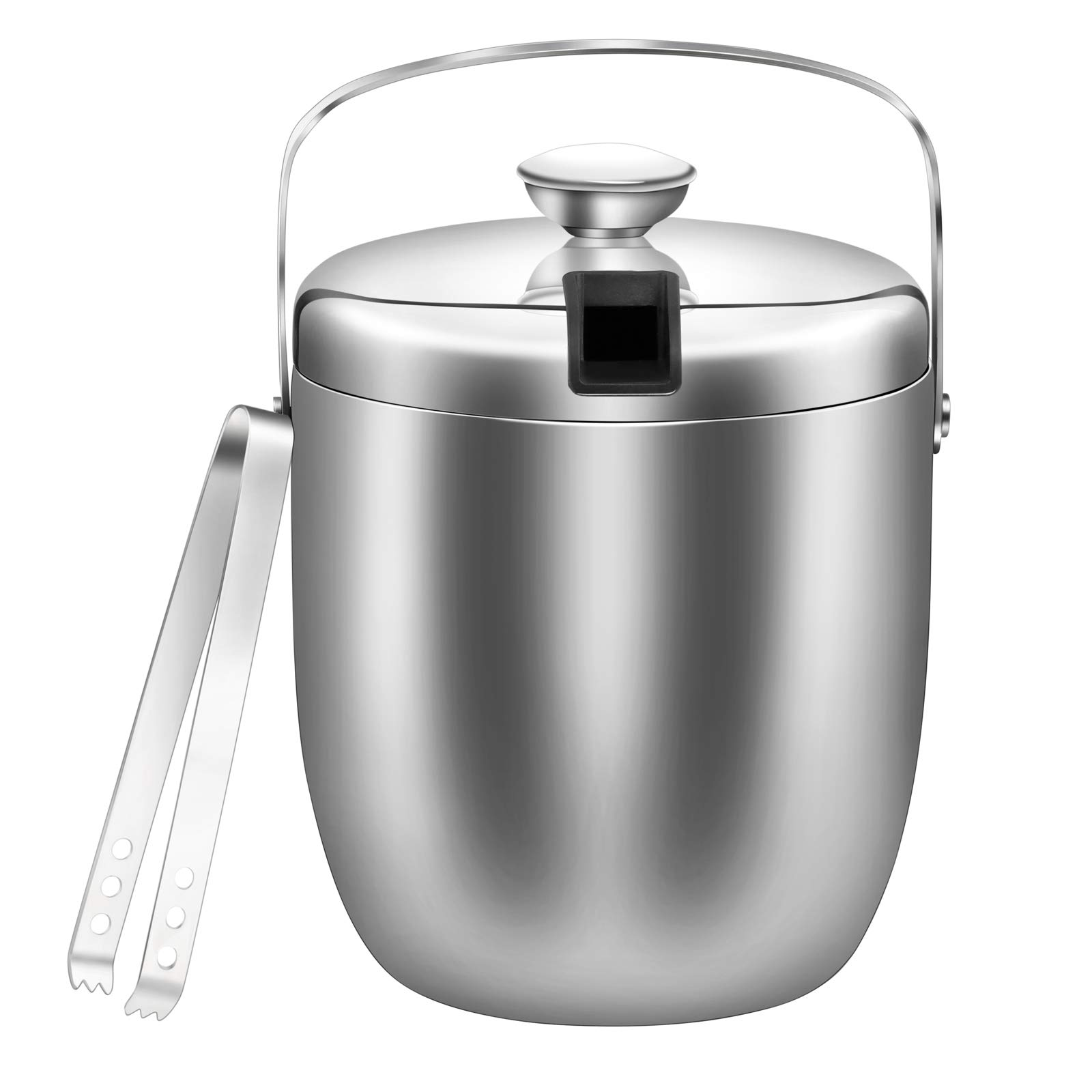 GWHOLE Double Wall Stainless Steel Ice Bucket with Tong, 3 Liter