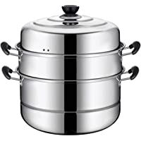 "VONOTO Stainless steel Thicken Three floors 3 Tier 11"" Steamer Cookware Pot Sauce pot Multi-layer Boiler (Three Floors 11"")"
