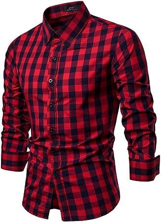 Weentop Hombres Rejilla Camisa Acolchada Acolchada de algodón de Hombre Slim Fit Cuello de Solapa Botones de Manga Larga Tops con Bolsillos (M-XXL) (Color : Rojo, tamaño : S): Amazon.es: Hogar