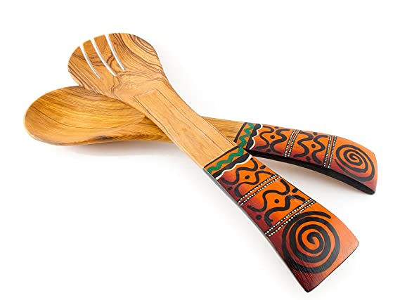 Maisha Fair Trade African Wooden Salad Servers Set Ladle Cooking Spoon & Fork Utensils Teak Wood Nectarine African Print