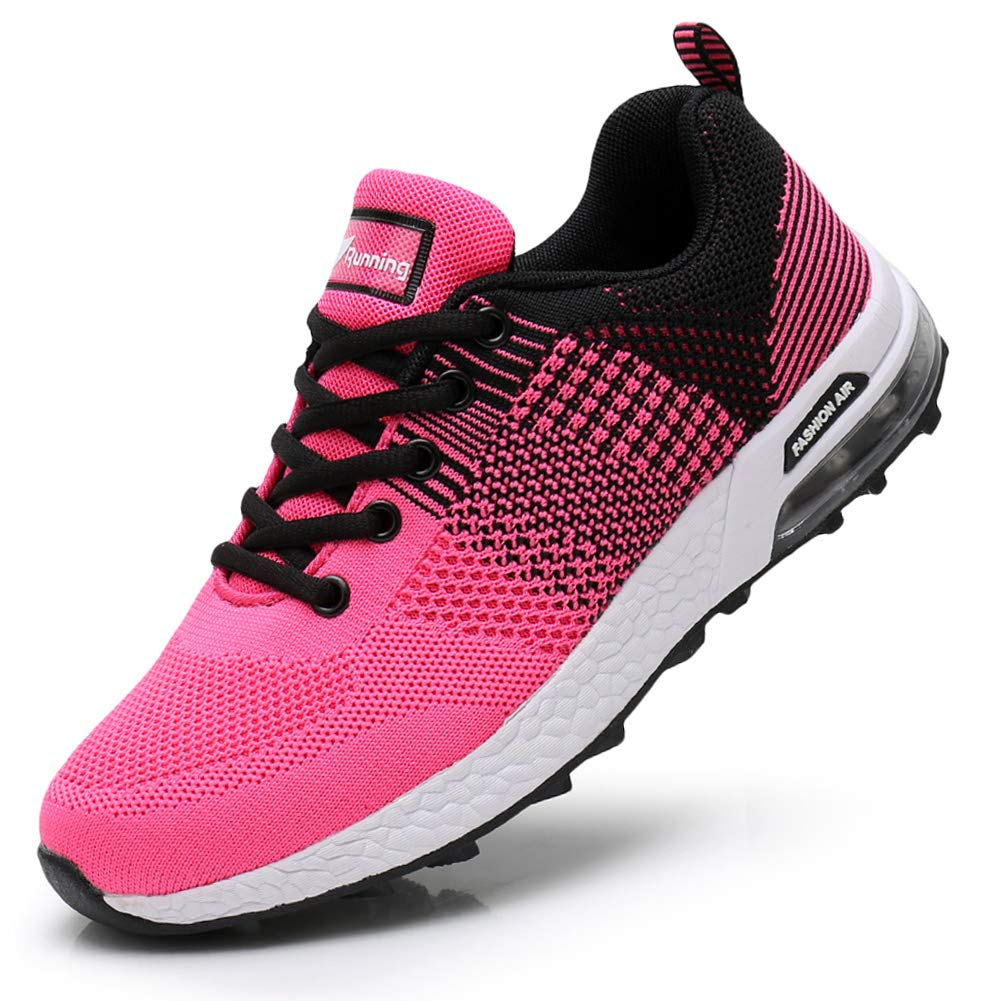 Pink02 JARLIF Women's Tennis Walking Running Sneakers Breathable Casual Flats Wide Width shoes US6-10