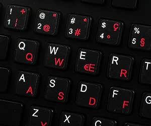 Qwerty Keys Pegatinas Teclado Suizo Transparentes con Letras Rojas: Amazon.es: Electrónica