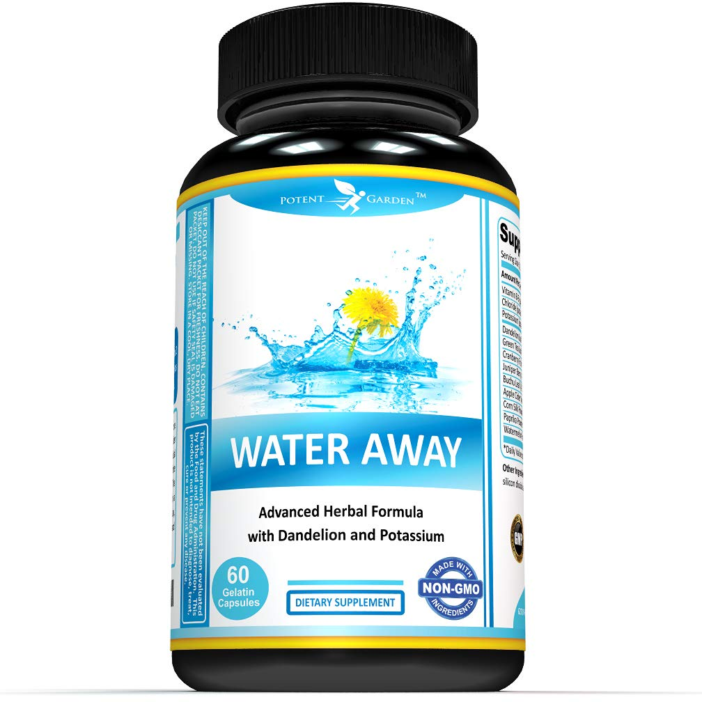 Water Pills That Work | Water Away Natural Herbal Supplements ǀ 60 Capsules ǀ Herbal Formula with Dandelion and Potassium Chloride ǀ Diuretic Detox for Weight Loss ǀ Anti-Bloating and Water Retention