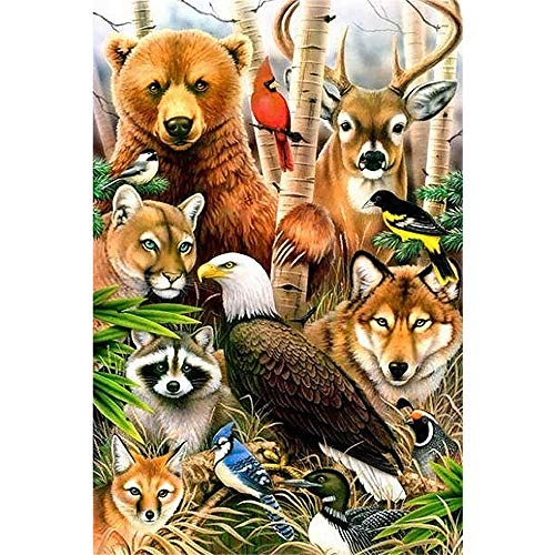 DIY 5D Diamond Painting Kits, Full Canvas Painting with Diamonds for Adults, Paint by Diamonds for Dream Home Decoration Art Craft 9.8X11.8 Inches, Bear Deer Wolf