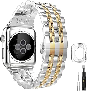 Stainless Steel Metal Bands Compatible with Apple Watch Band 42mm 44mm, Gold Replacement Strap with Adapter+Case Cover Compatible with iWatch Series 6 5 4 3 2 1 SE Sport