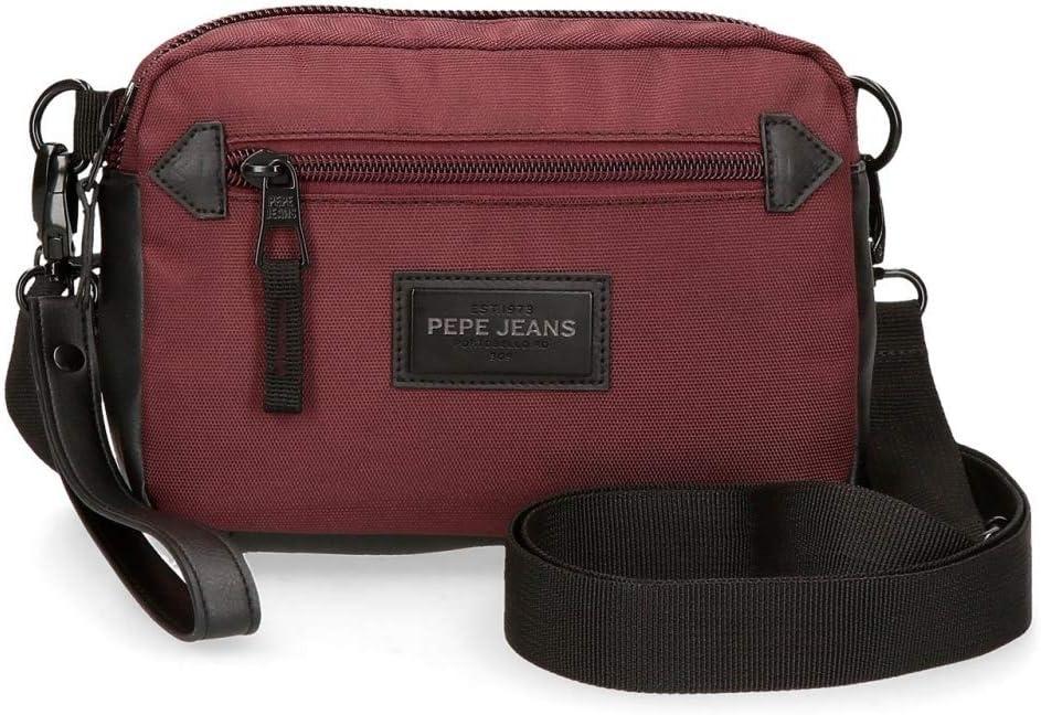 Pepe Jeans Lambert Bolso de Mano con Bandolera Rojo 19x13x4,5 cms Poliéster