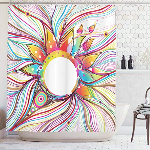 Ambesonne Abstract Decor Shower Curtain, Vector Smoky Wavy Floral Design with Rainbow Alike Stripes and Lines, Fabric Bathroom Decor Set with Hooks, 84 Inches Extra Long, Pink Orange