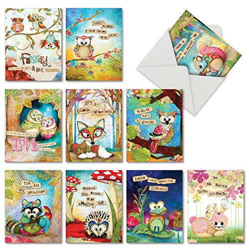 Friends Stationery - Forest Friends: 10 Assorted Blank All-Occasion Note Cards Featuring Colorful Forest Birds and Animals with Inspirational Sayings, w/White Envelopes. M2952OCB
