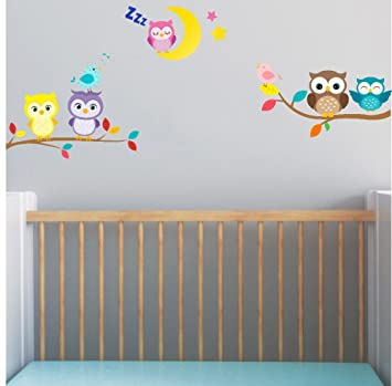 Wall Stickers Home & Garden Cute Owl Bird Tree Swing Wall Sticker Decal For Kids Children Baby Nursery Room Decor